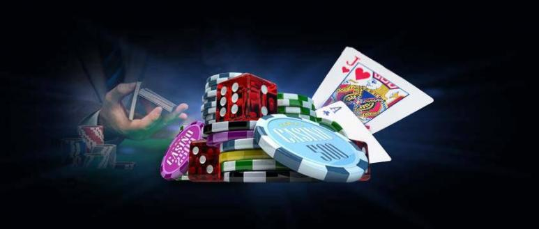 casino cards, chips and dice