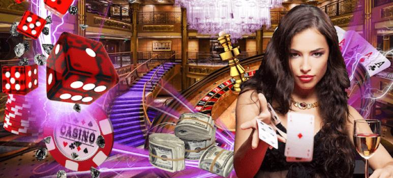 casino dice, table and cards with live dealer and money